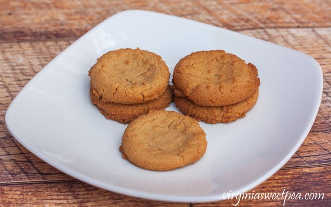Peanut butter cookies on a white plate