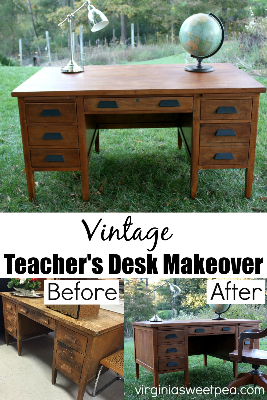 Vintage Teacher's Desk Makeover - A vintage teacher's desk found at Goodwill is made over with sanding and fresh stain.  #vintagedesk #vintageteacherdesk #deskmakeover via @spaula