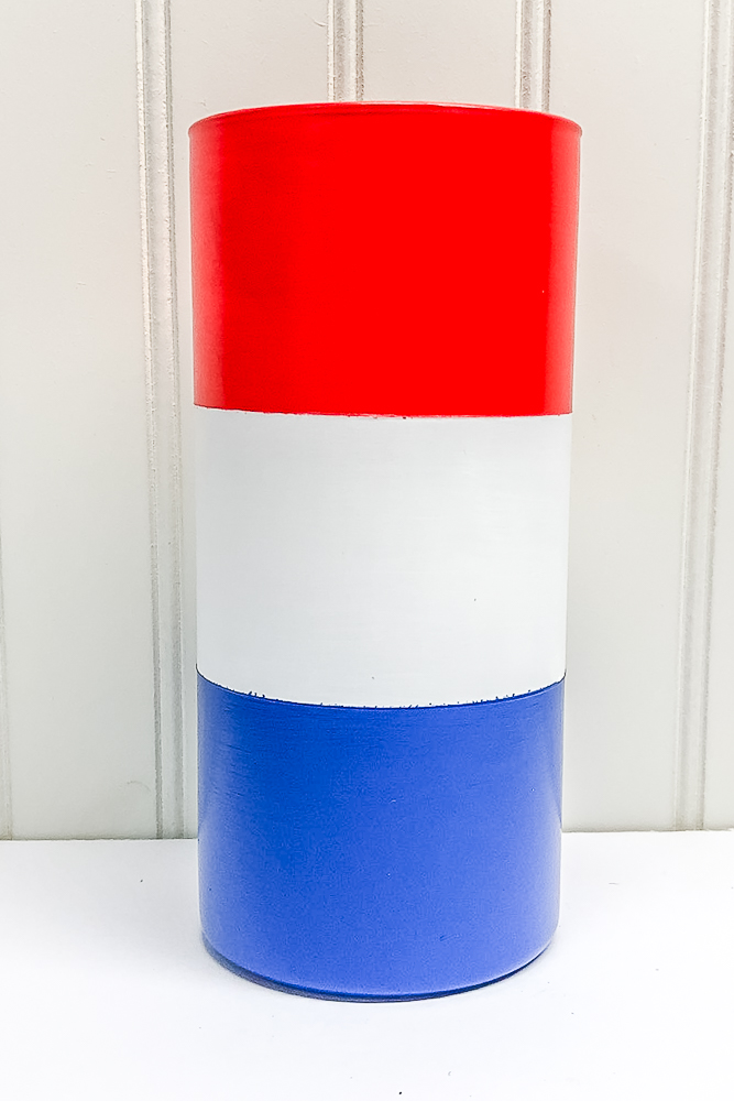 Vase painted red, white, and blue
