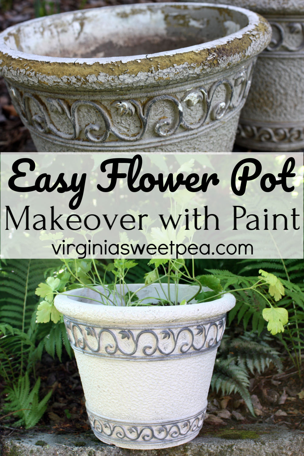 How to Makeover Flower Pots with Paint - Learn how to give worn flower pots a fresh new look with paint. This technique lasts for years! #flowerpotmakeover #howtopaintflowerpots via @spaula