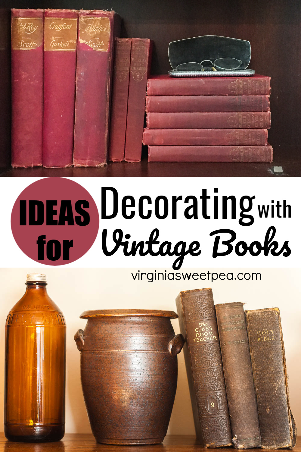 Ideas for Decorating with Vintage Books - Get ideas for ways you can use vintage books in your home decor. #vintagebooks #decoratingwithvintage #vintagedecorideas via @spaula