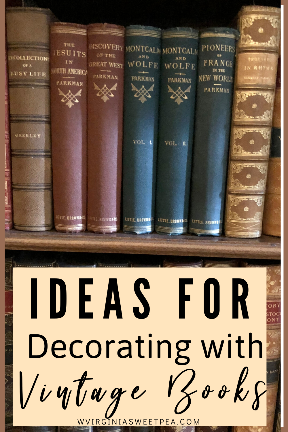 Ideas for Decorating with Vintage Books - Get ideas for ways to use vintage books in home decor. #vintagebooks #decoratingwithvintage #vintagedecorideas via @spaula