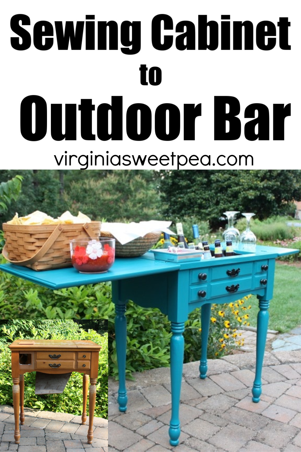 Sewing cabinet repurposed to outdoor bar