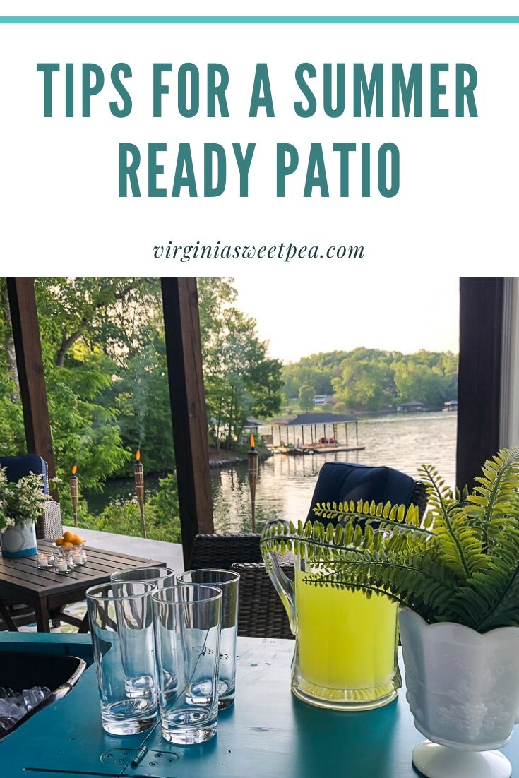 Tips for a Summer Ready Patio - Get ideas for getting your patio ready for summer relaxing and entertaining.  #patio #summerpatio #outdoorentertaining #lakehousepatio via @spaula