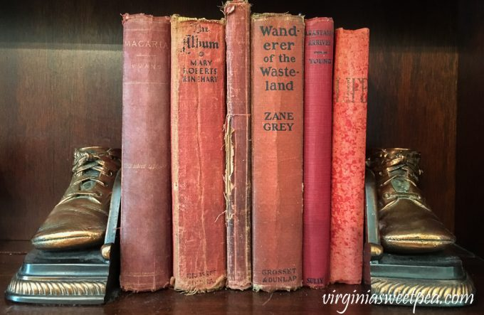 Vintage Books with Vintage Bronzed Baby Shoe Bookends