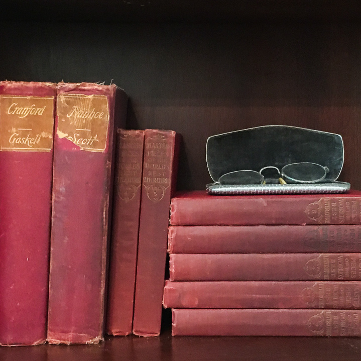 Antique and Vintage Books and an antique set of reading glasses