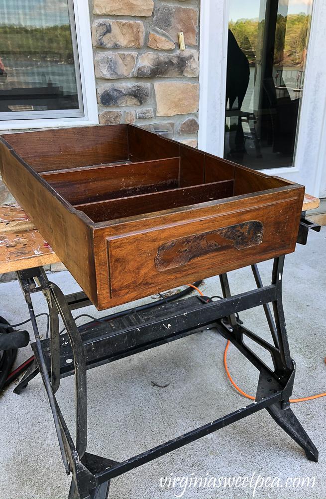 Refinishing a vintage office desk - drawer before sanding