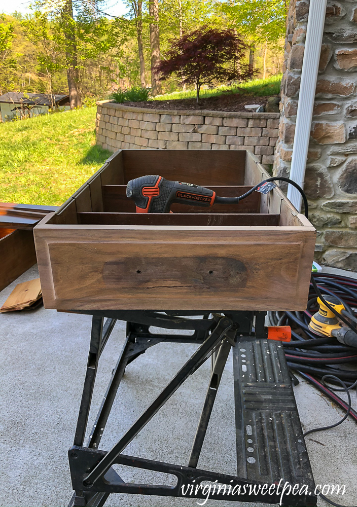 Refinishing a vintage office desk - drawer after sanding