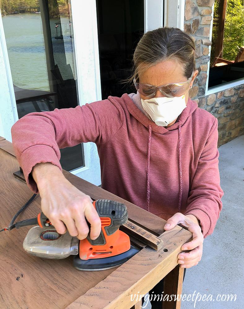Refinishing a vintage office desk - sanding