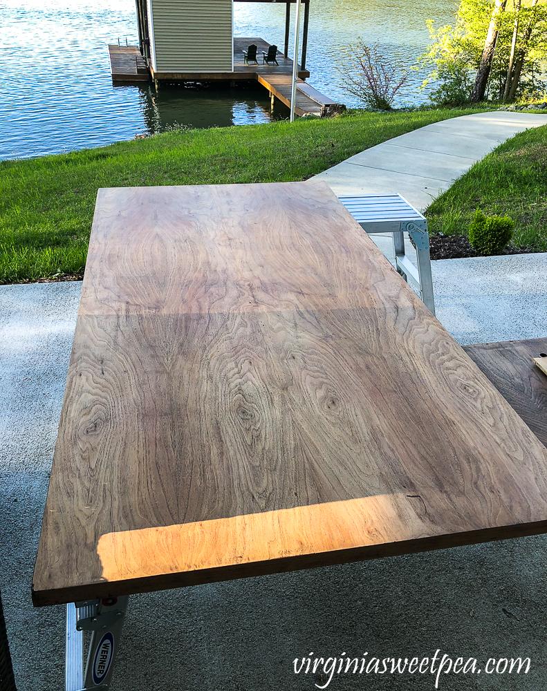 Refinishing a vintage office desk - top sanded