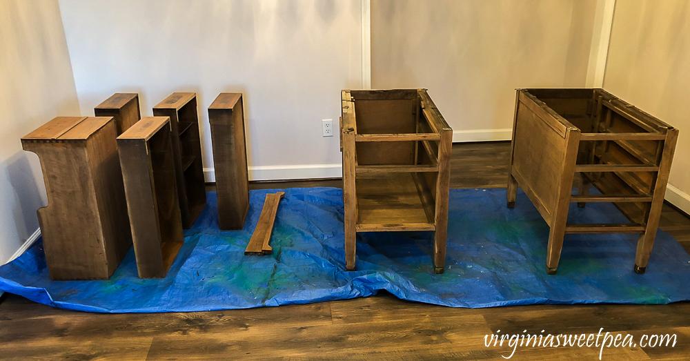 Refinishing a vintage office desk - Parts sanded