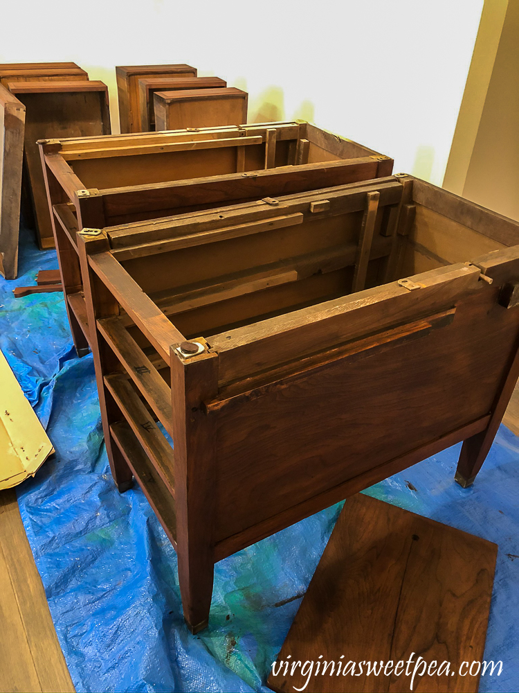 Refinishing a vintage office desk - Stained parts