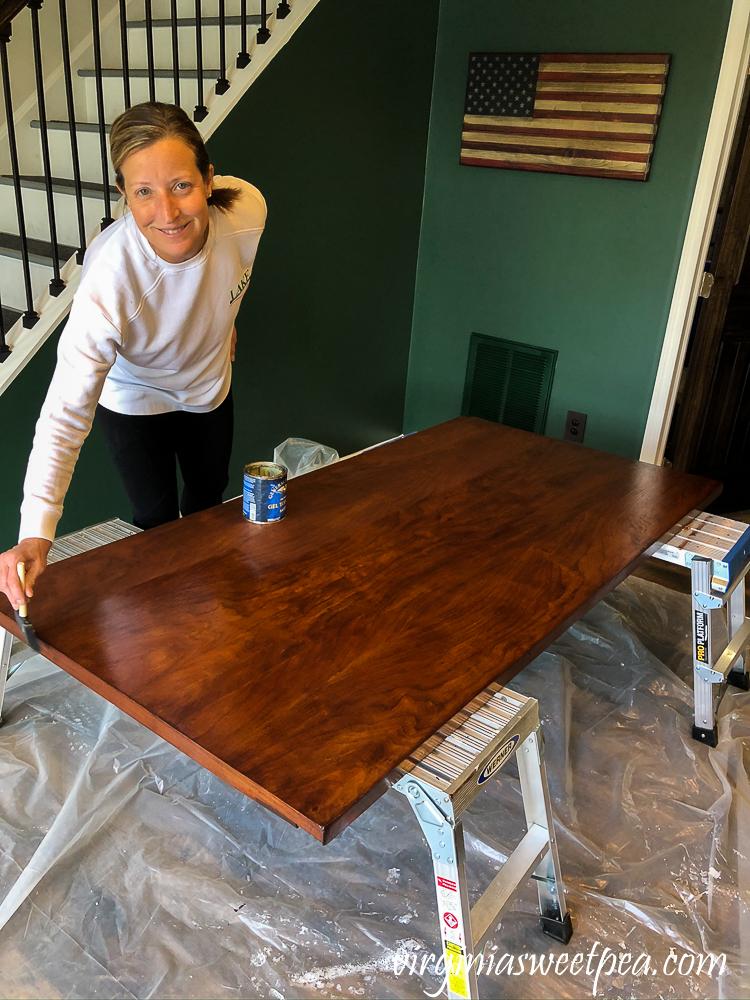 Staining a vintage desk top
