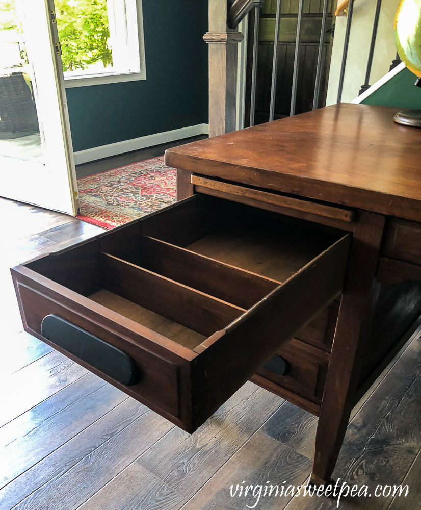 Vintage office desk drawer with dividers