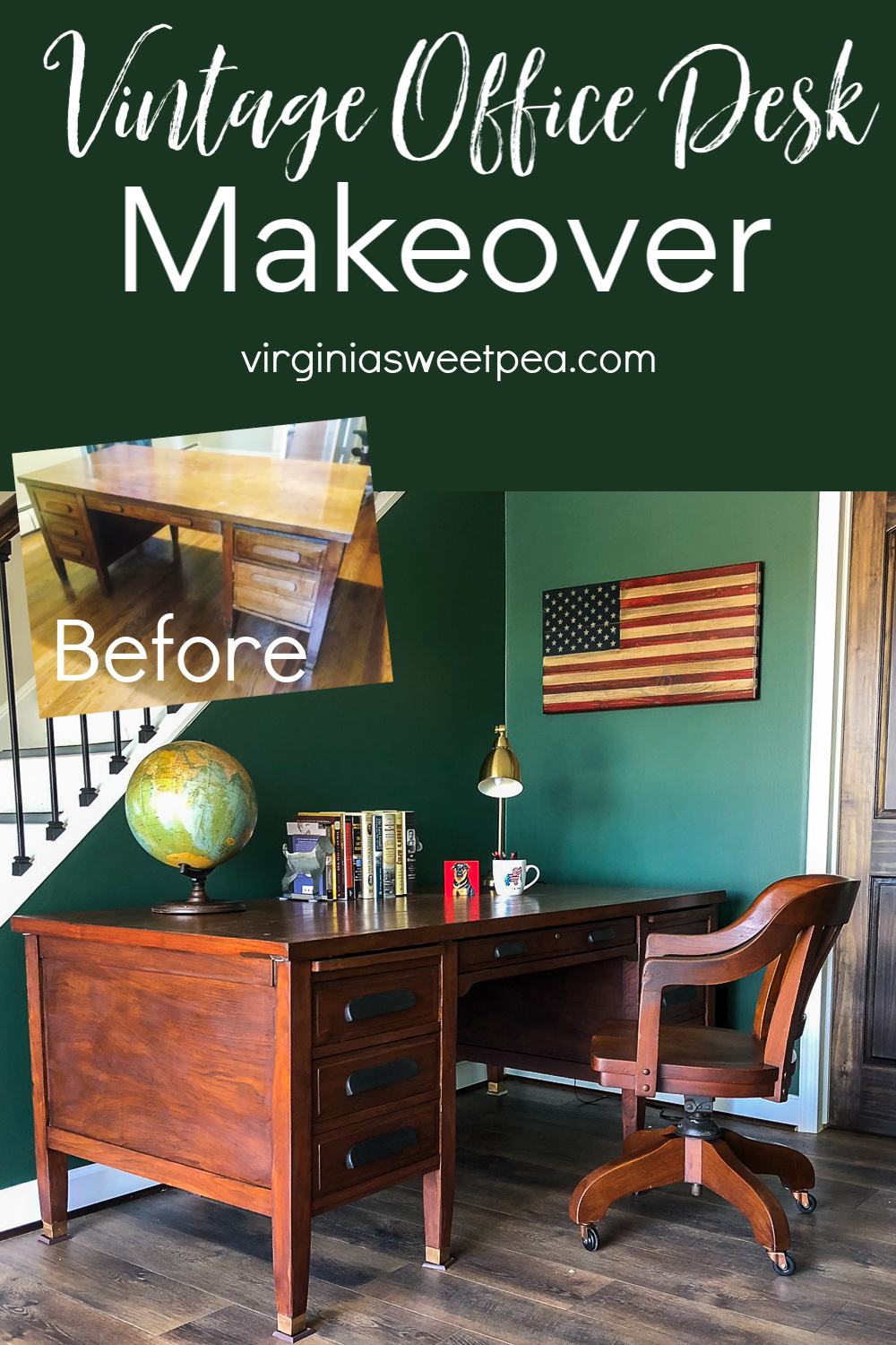 Vintage Office Desk Makeover - A vintage office desk gets repaired and refinished.  See the repairs and the steps used to refinish this beautiful old desk.  #vintageofficedesk #vintagedesk #deskmakeover #officedeskmakeover #furniturerefinishing #virginiasweetpea via @spaula