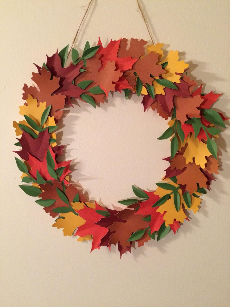 Fall wreath made from paper leaves