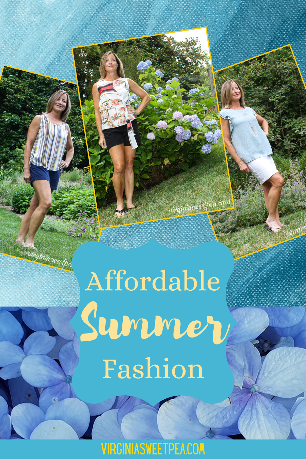Affordable Summer Fashion - Cute styles don't have to break the bank. See how I paired tops from Fashom with Old Navy shorts and skirts. #summerfashion #affordablefashion #fashom #betterasiam #oldnavy #fashionover40 #fashionover50 via @spaula