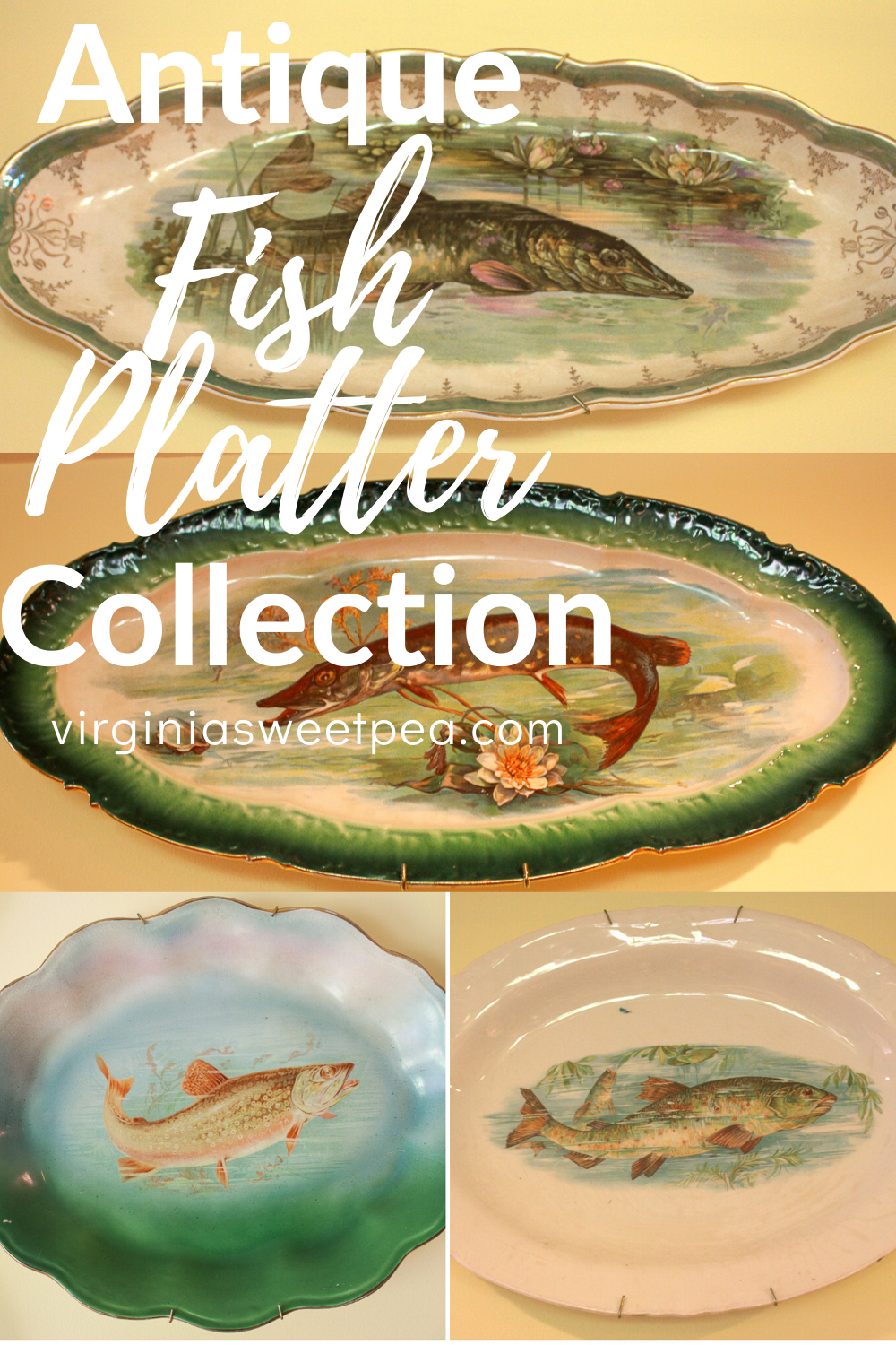 Antique Fish Platter Collection - See a collection of unique fish platters.  #fishplatters  via @spaula