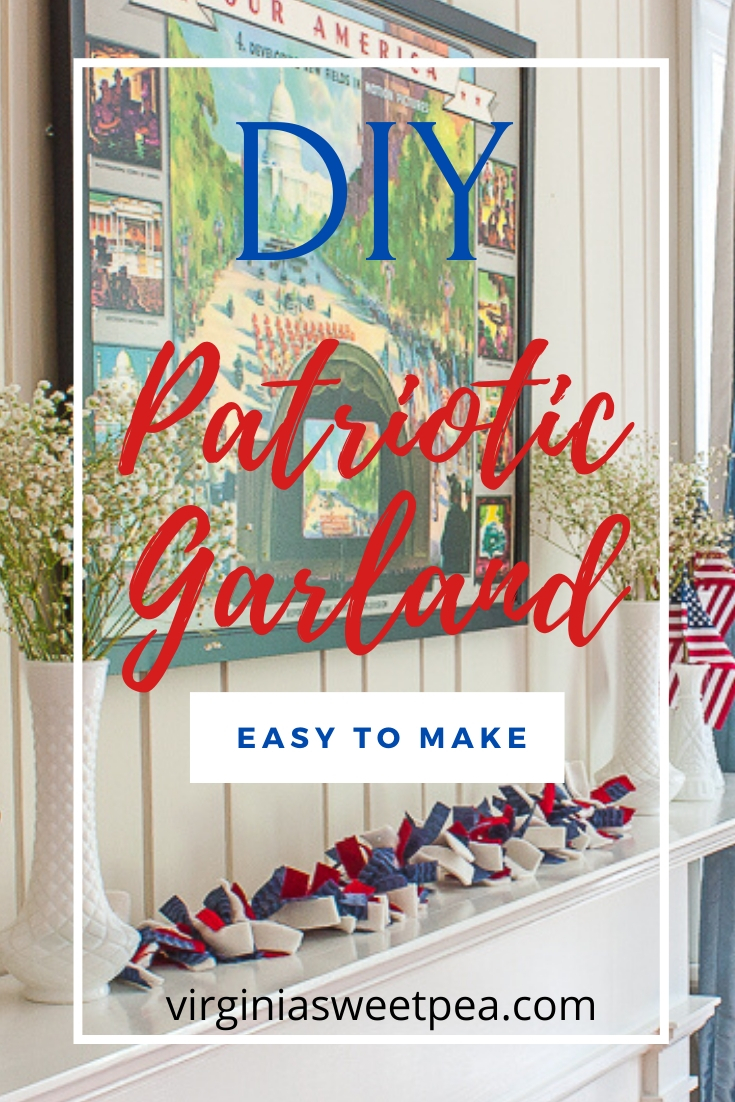 Easy to Make DIY Patriotic Garland - Learn how to make a garland using strips of fabric to use for patriotic decor.  Change the colors to decorate for another season!  #diygarland #diyraggarland #diyfabricgarland #fabricgarland #raggarland #patrioticdecor via @spaula