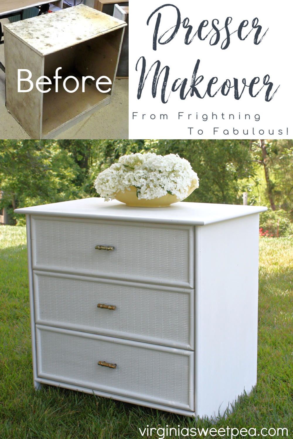 Dresser Makeover - A yard sale found dresser gets a makeover and now looks great! #dressermakeover #yardsalefind #furnituremakeover #paintedfurniture via @spaula