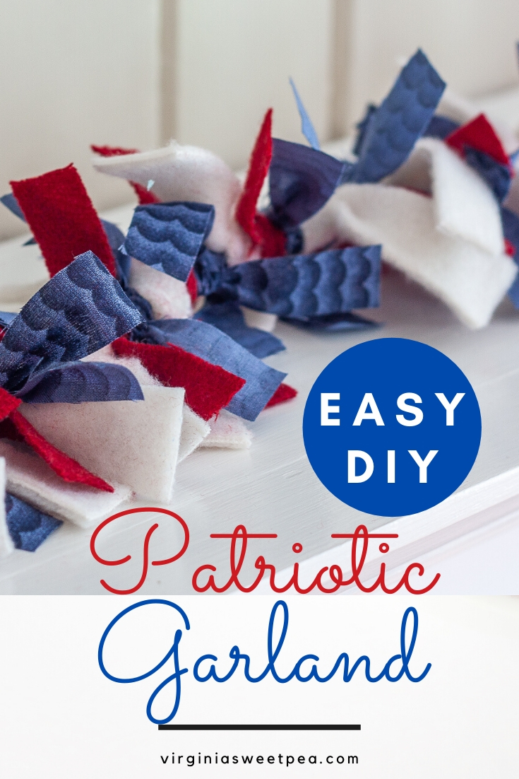 Easy DIY Patriotic Garland - Learn how to make a garland using strips of fabric to use for patriotic decor.  Change the colors to decorate for another season!  #diygarland #diyraggarland #diyfabricgarland #fabricgarland #raggarland #patrioticdecor via @spaula