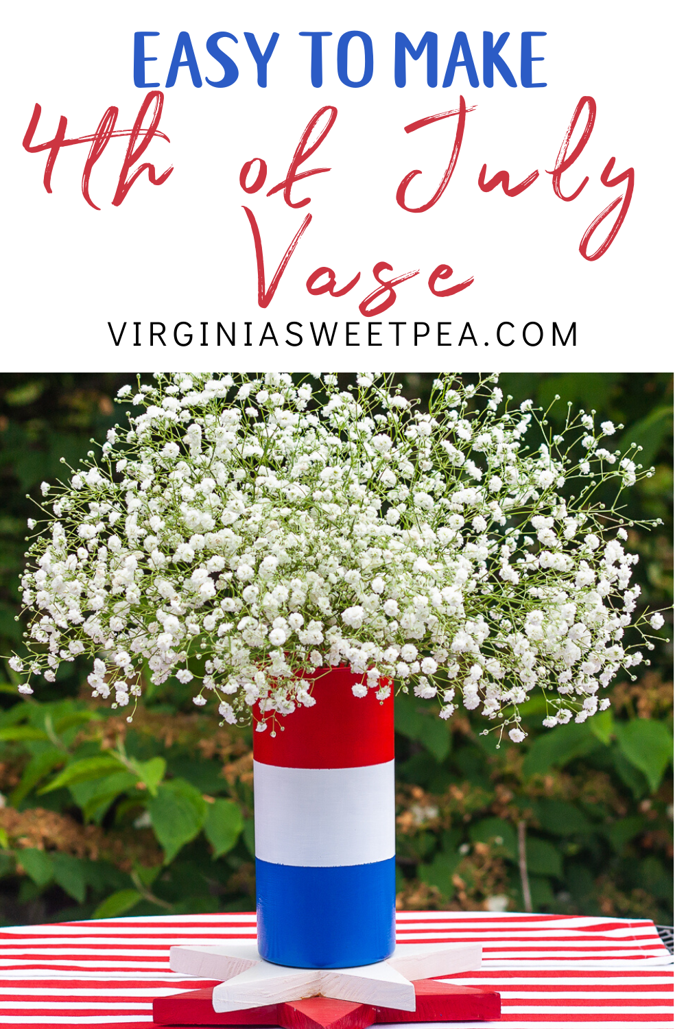 DIY Patriotic Vase - Learn how to use a clear florist vase from the thrift shop to make a red, white, and blue vase perfect to use for Memorial Day and 4th of July decor. #patriotic #patrioticcraft #4thofJuly #4thofjulycraft #redwhiteandbluecraft #summercraft #upcycleidea via @spaula