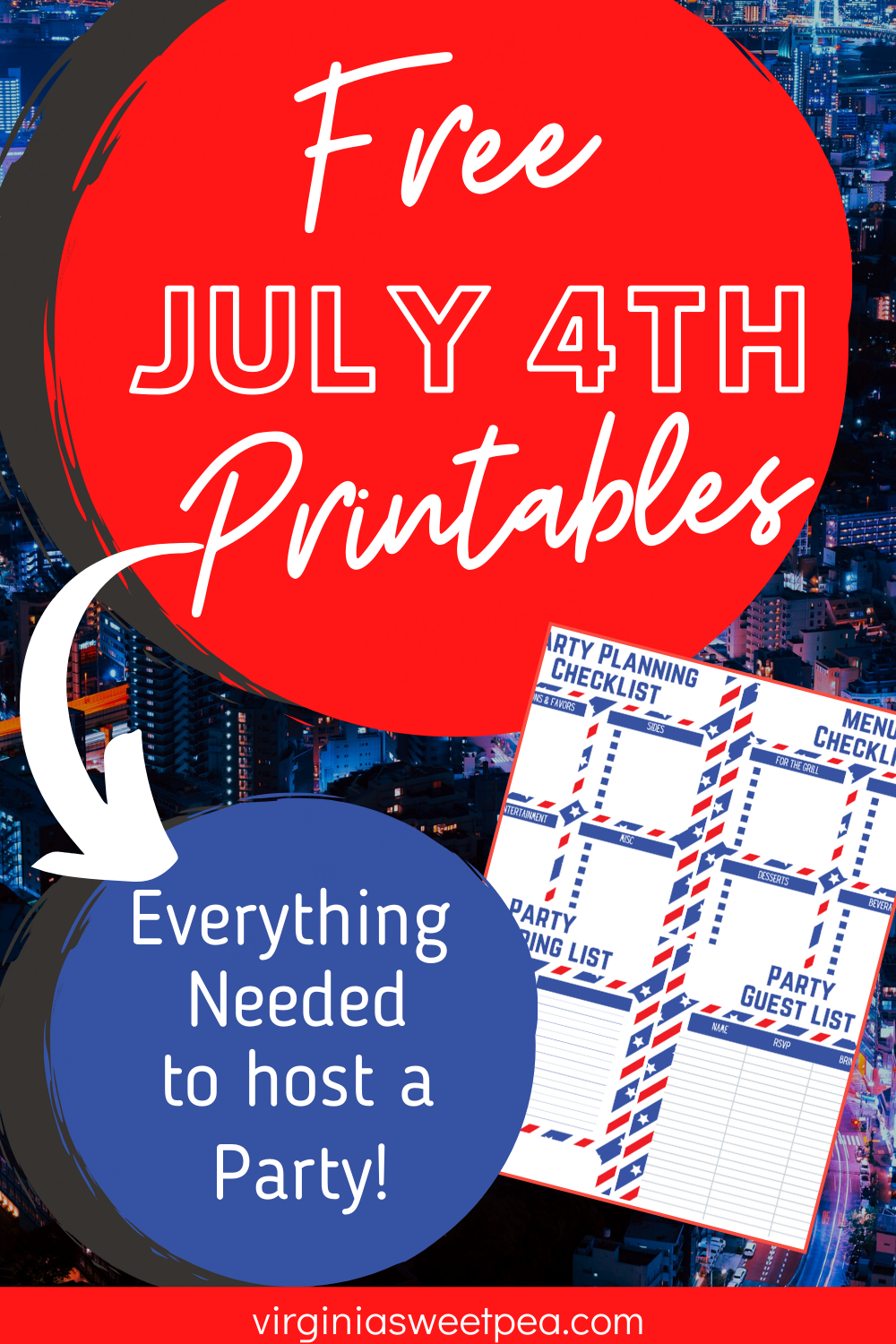 Free Printable 4th of July Party Pack - Plan the ultimate 4th of July party with this FREE printable party pack.  Included are invitations, photo booth accessories, decor to either frame or hang, food tags, and adorable utensil wraps.  Also included is a fun scavenger hunt for the kids!  #freeprintable #4thofJulyprintable #4thofjulyinvitation #4thofjulyprintables  via @spaula