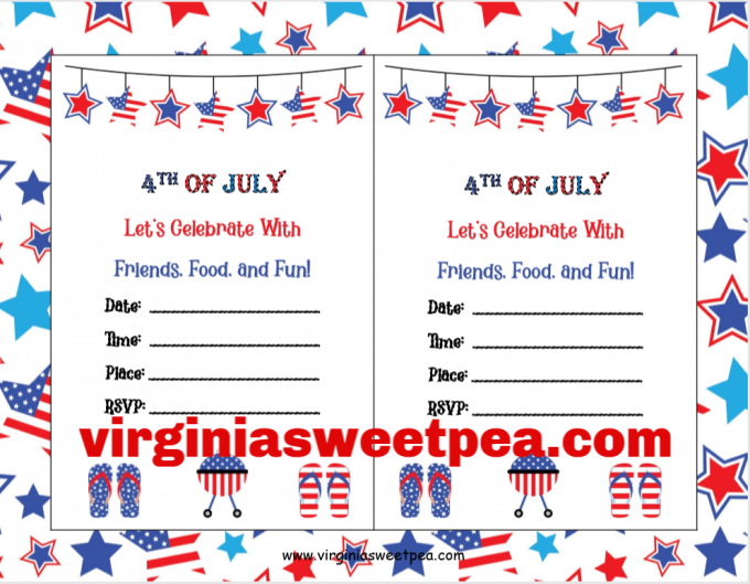 Free Printable 4th of July Party Invitation