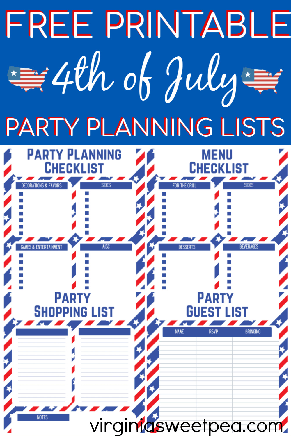 Free Printable 4th of July Party Planning Lists - Plan a 4th of July party using FREE printable party planning pages. #freeprintable #4thofjulyparty #4thofjulyprintables  via @spaula