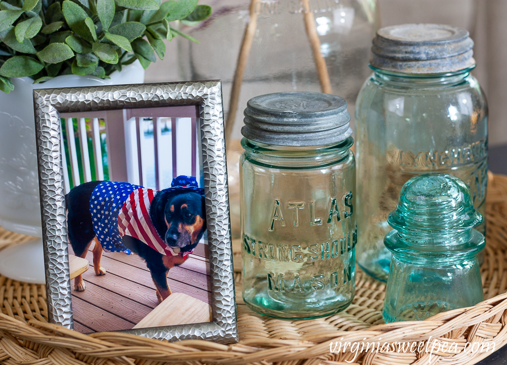 Vintage Atlas Mason Jar and Lynchburg Standard Mason Jar and a Vintage Insulator with a picture of a dog in an Uncle Sam costume