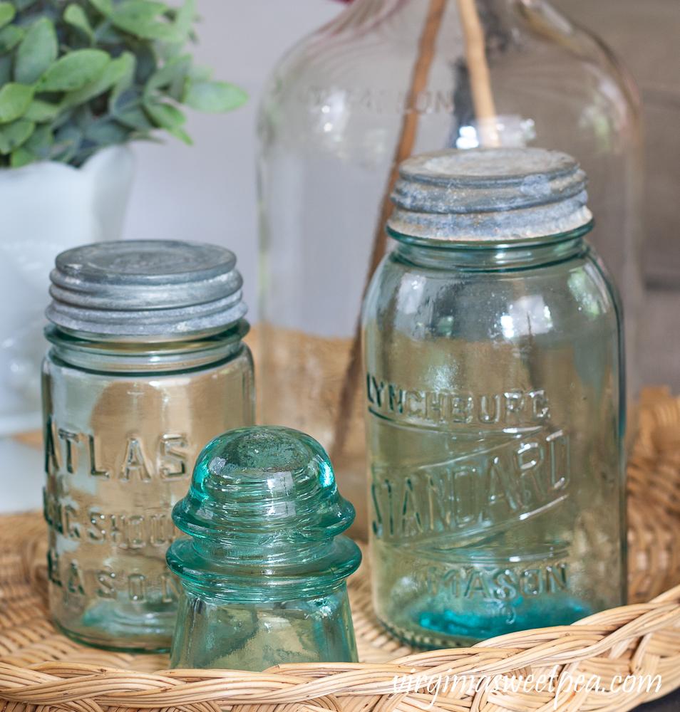 Vintage Atlas Mason Jar and Lynchburg Standard Mason Jar and a Vintage Insulator
