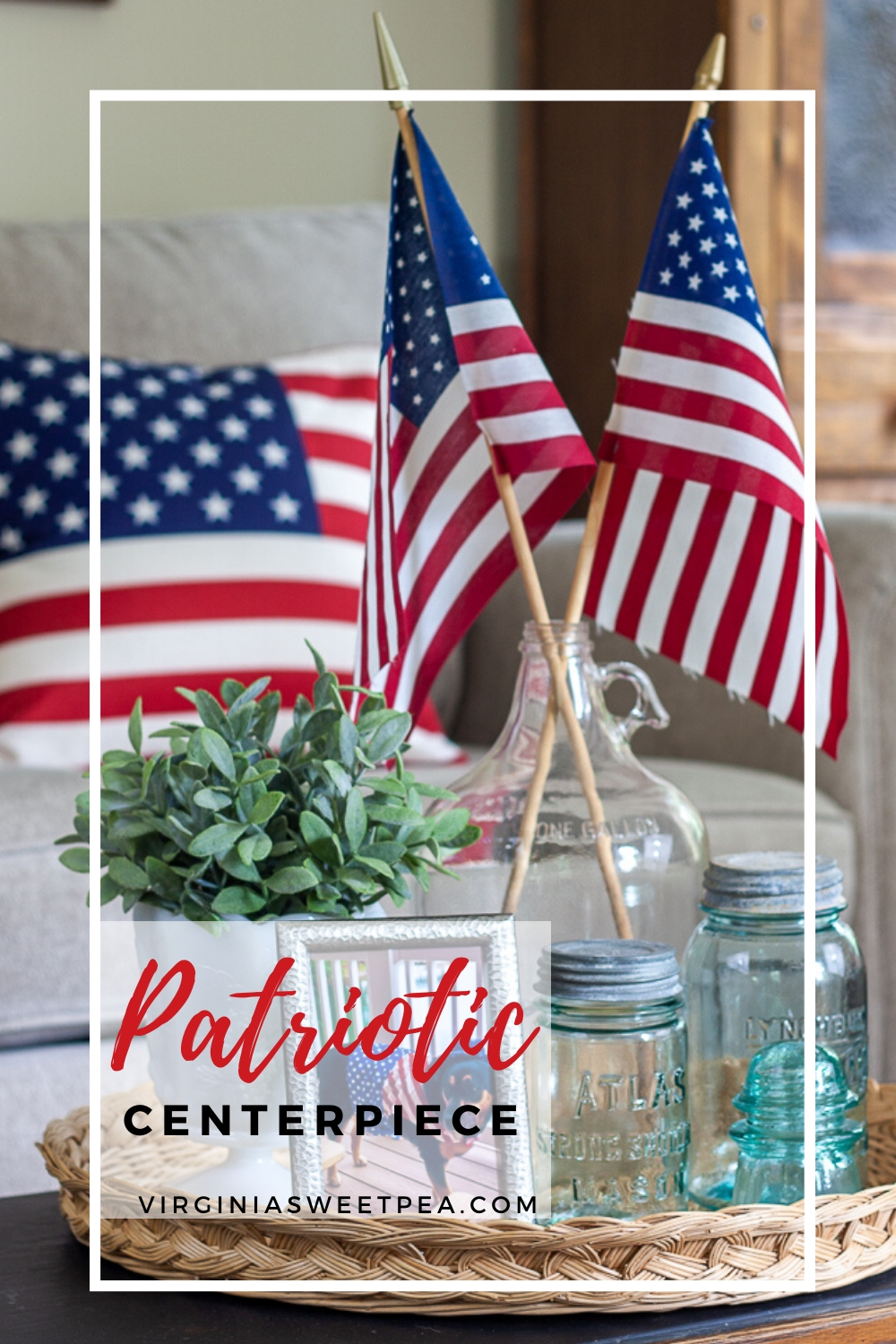 Patriotic Centerpiece - Celebrate patriotic holidays with a patriotic centerpiece using vintage and American flags.  #patriotic #patrioticcenterpiece #patrioticvignette #patrioticdecor #4thofjulydecor #4thofjulycenterpiece #virginiasweetpea #shermanskulina via @spaula