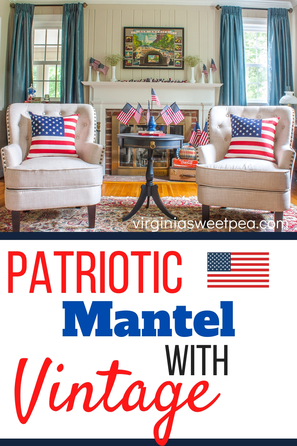 Patriotic Mantel with Vintage - A mantel is decorated for July 4 with the American flag and vintage. #patrioticdecor #patrioticmantel #4thofjulydecor #4thofjulymantel #vintagedecor via @spaula