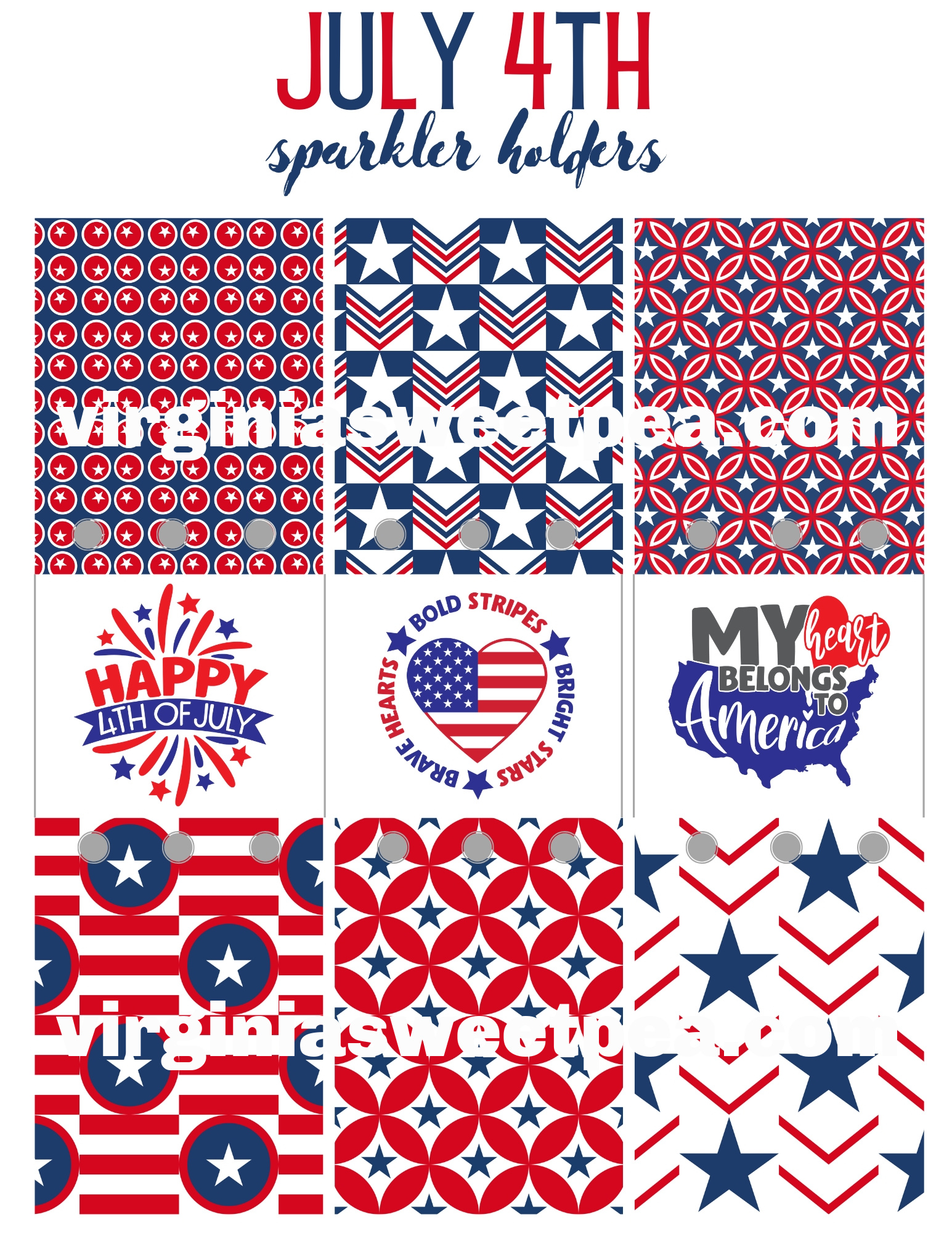 Free Printable 4th of July Sparkler Holders
