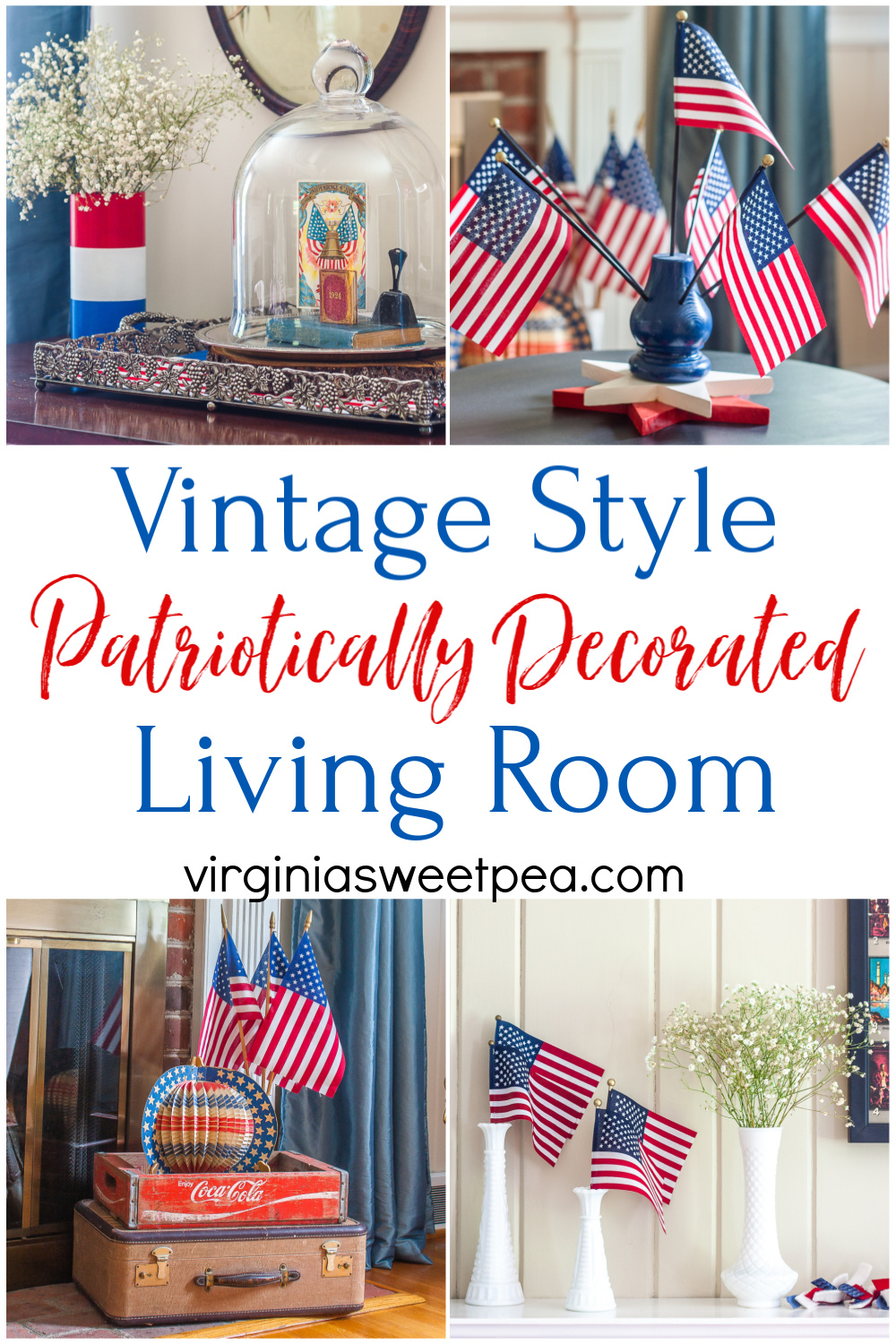 Vintage Style Patriotically Decorated Living Room - A living room is decorated patriotically with vintage.  #patrioticdecor #patrioticvignette #patrioticdecorating #4thofjulydecor #vintagehomedecor #vintagestyle