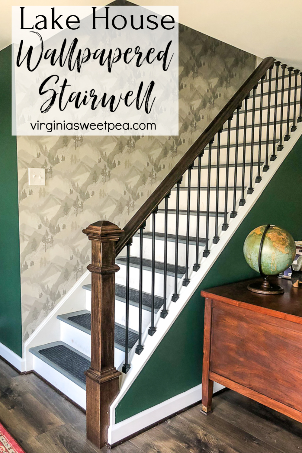 Lake House Wallpapered Stairwell - Reveal of a stairwell wallpapered with Brewster wallpaper in Range Light Grey Mountain.  #wallpaper #wallpaperedstairwell #lakehouse #lakehousedecor #smithmountainlake #brewsterwallpaper via @spaula