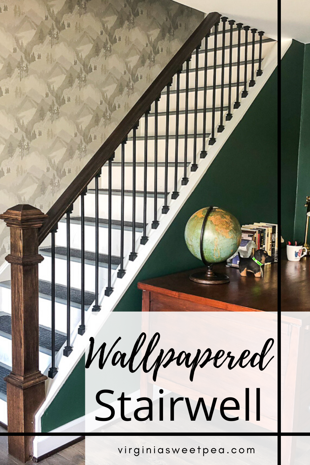 Wallpapered Stairwell - Reveal of a stairwell wallpapered with Brewster Wallpaper Range Light Grey Mountains. #wallpaper #wallpaperedstairwell #wallpaperproject #lakehouse #lakehousedecor #smithmountainlake #brewsterwallpaper via @spaula