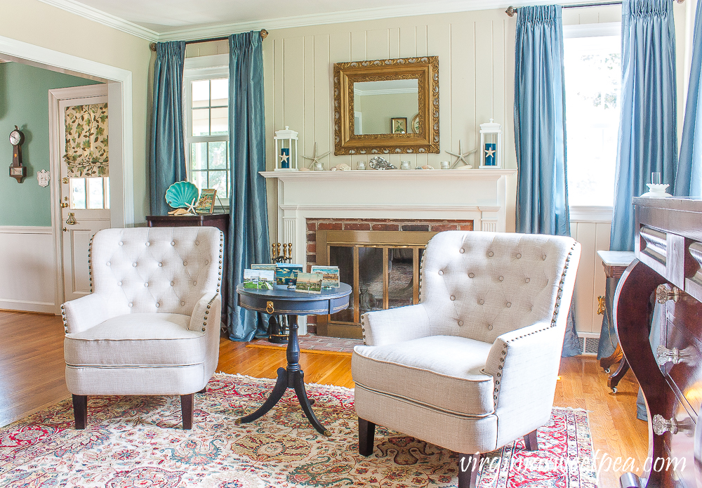 Living room decorated for summer with a coastal theme