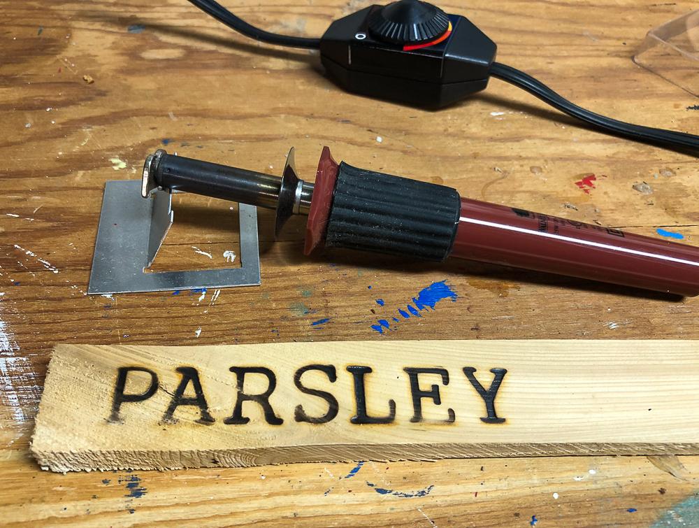 Parsley wood burned on a shim.