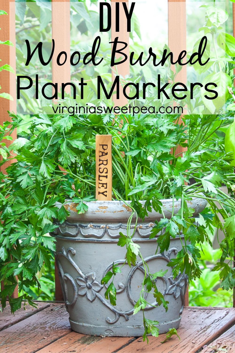 DIY Wood Burned Plant Markers - Learn how to make wood burned plant markers to use to mark herbs, vegetables, or flowers.  This is an easy DIY that can be used for many years and they make a great gift!  #diyplantmarker #woodburning via @spaula