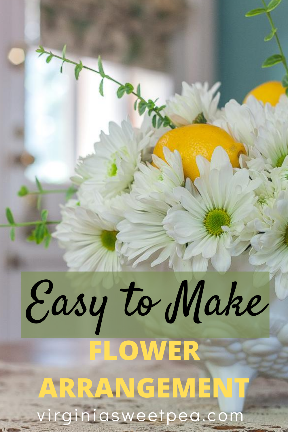 Easy to Make Flower Arrangement - Learn how to make a beautiful flower arrangement using grocery store flowers.   This step-by-step tutorial shows you how. #flowerarrangmenttutorial #flowerarrangment #floraldesign via @spaula