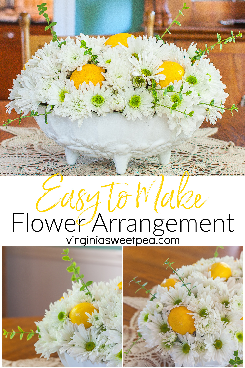 Easy to Make Flower Arrangement - Forget ordering an expensive flower arrangement from the florist!  Learn how to make your own arrangement at home with this step-by-step tutorial.  #flowerarrangmenttutorial #flowerarrangment #floraldesign via @spaula