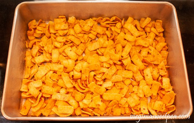 Fritos in a baking pan
