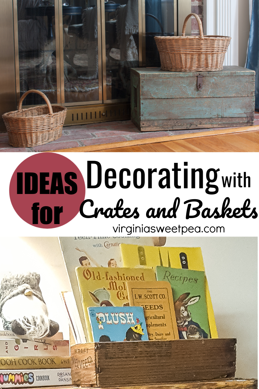 Ideas for Decorating with Vintage Crates and Baskets - Crates and baskets are great for not only decorating but also for organizing. Get ideas for using vintage crates and baskets in your home. #decoratingwithvintage #vintagehomedecor via @spaula
