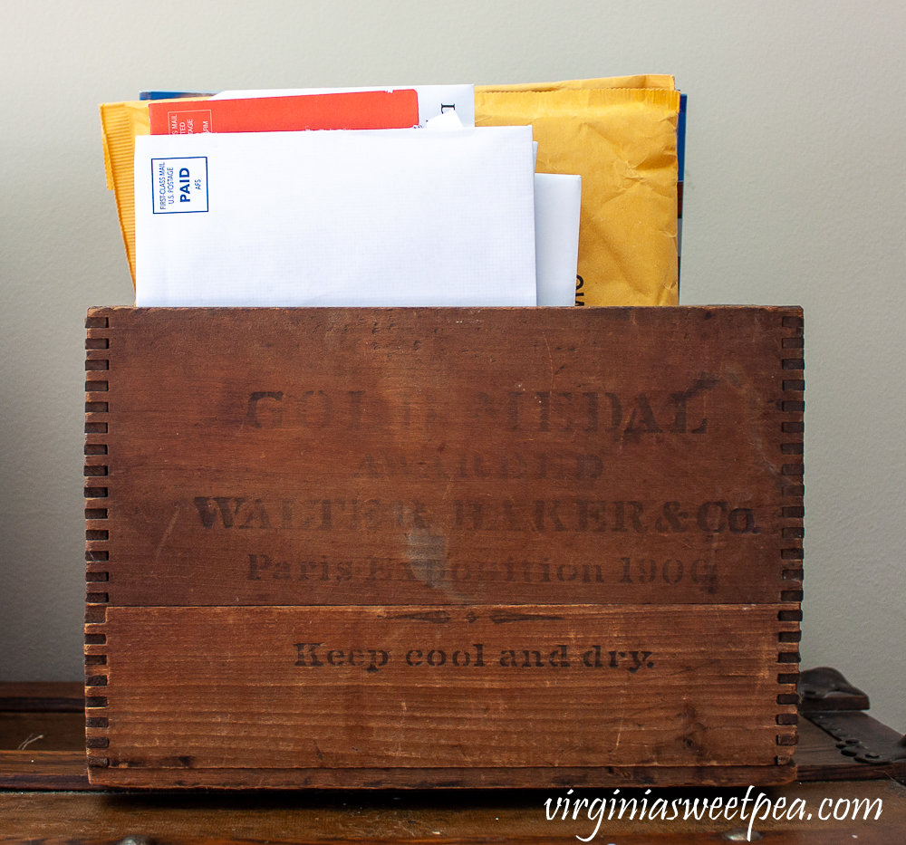 Vintage crate filled with mail