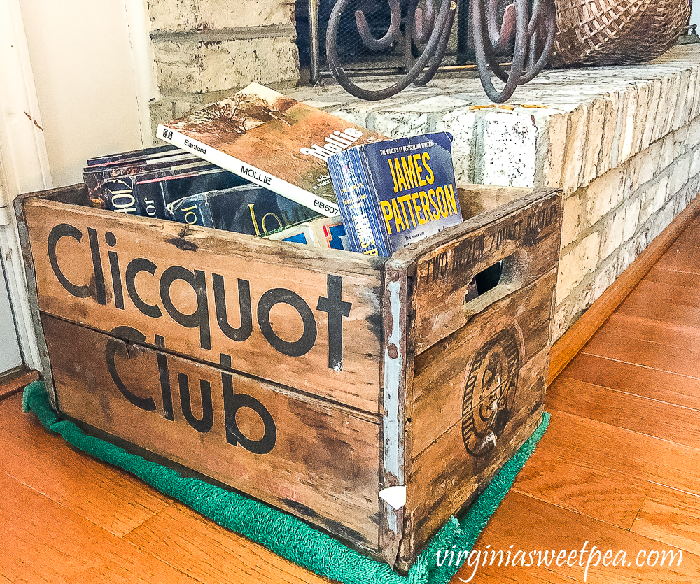 Vintage crate filled with books