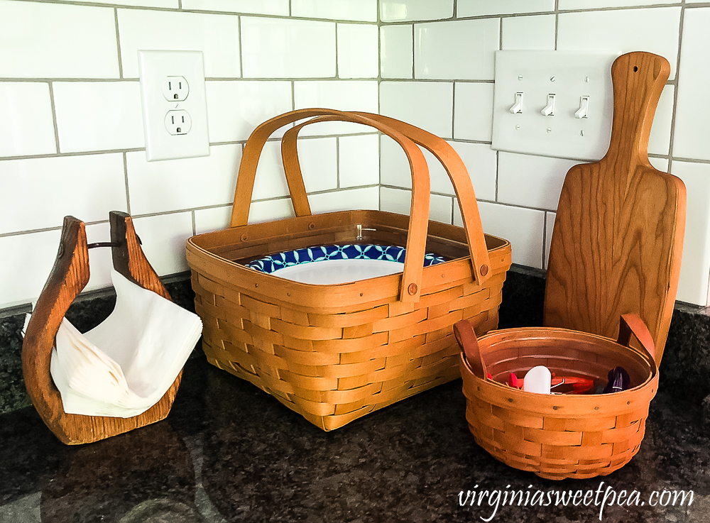 Longaberger baskets on a kitchen counter