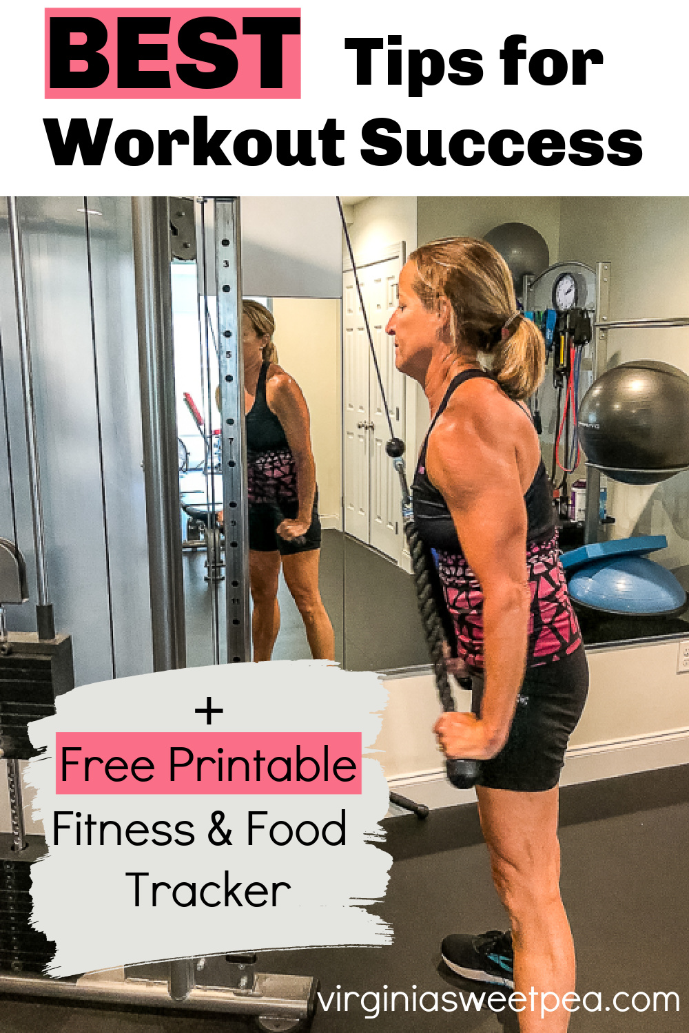 Best Tips for Workout Success + Free Printable Fitness and Food Tracker - Get 10 best tips for workout success and a free printable fitness and food tracker that includes pages to track workouts, meals, calories, water, and weight.  #printablefitnesstracker #printablefitnesslog #printablefoodlog via @spaula