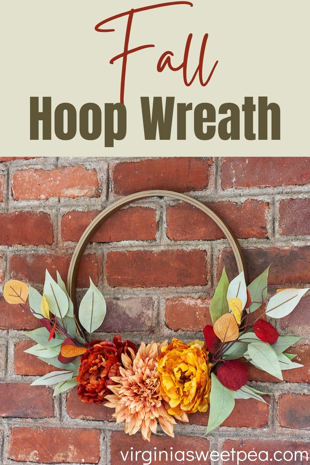 Fall Hoop Wreath - Learn how to make a fall hoop wreath to use for fall decor for your home.  This looks great hanging on a door, over a mantel, or on a wall.  #fallwreath #hoopwreath #fallhoopwreath via @spaula