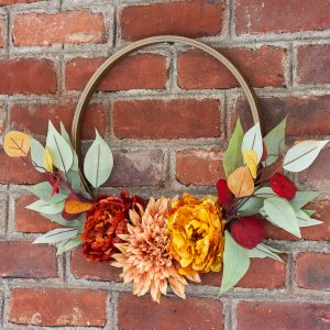 Fall wreath made with a quilter's hoop and fall florals